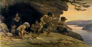 This picture provided by the American Museum of Natural History shows a mural depicting Neanderthal life that hasn't been displayed in decades at the museum in New York.